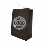 Sacola Preta Personalizada 41,5x31x15 - 100 unidades