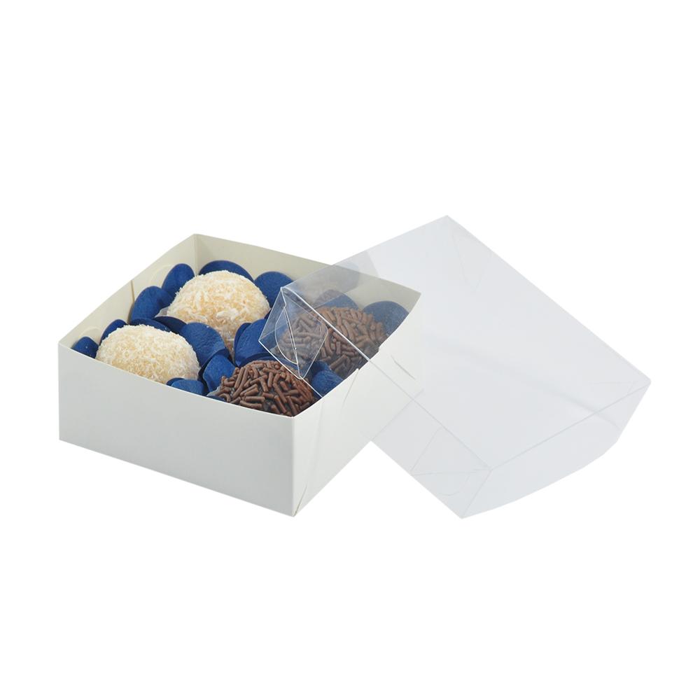 Caixa para Doce Branca com Visor 8,5x8,5x3,5 4 Doces - 20 Un
