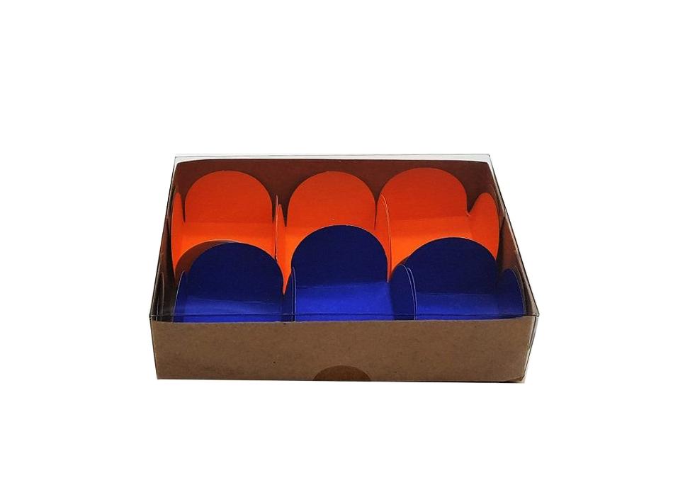 Caixa para Doce Kraft com Visor 12x8x3 6 Doces - 20 Un