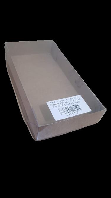 Caixa para Doce Kraft com Visor 18x9x3 10 Doces - 20 Un