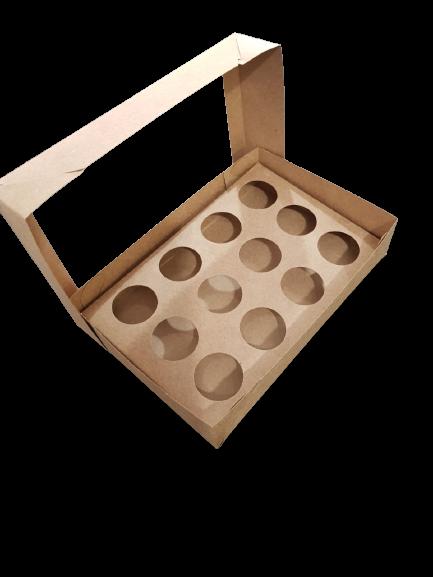 Caixa para Doce Kraft com Visor 20x13x4 Berço 12 Doces 3 Un