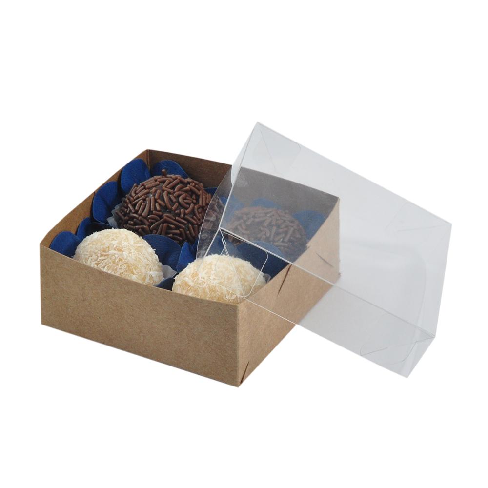 Caixa para Doce Kraft com Visor 8,5x8,5x3,5 4 Doces - 20 Un