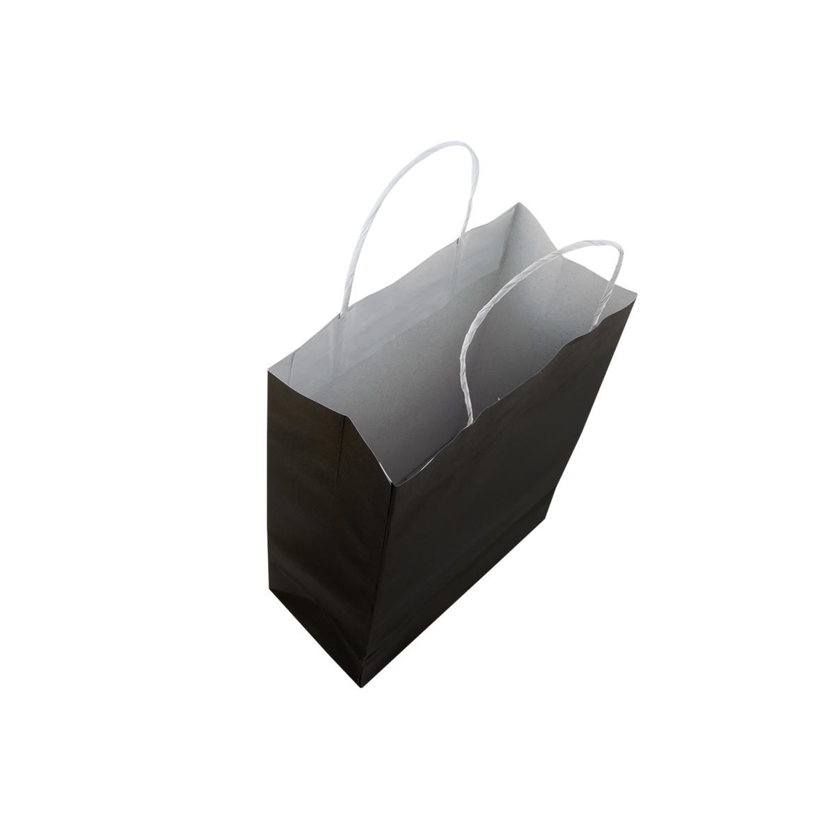 Kit 200 Sacolas Papel Preta Pequena 26x18x9