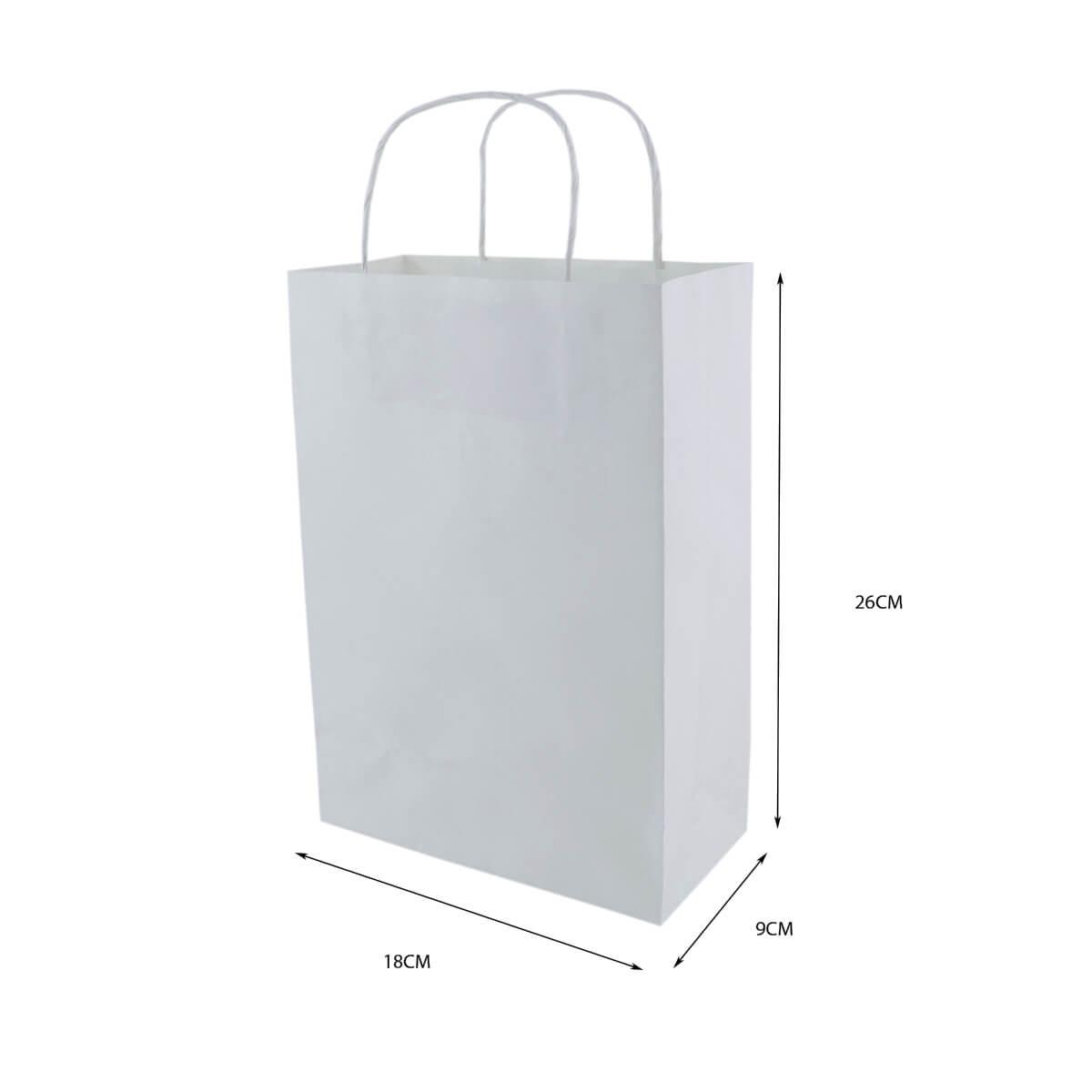 Sacola Branca Pequena 26x18x9 - 100 Unidades