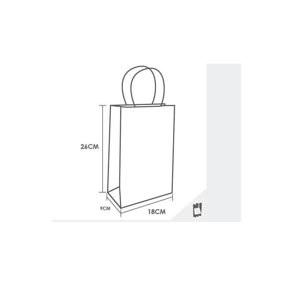 Sacola de Papel Kraft Pequena 26x18x9 - 100 Unidades