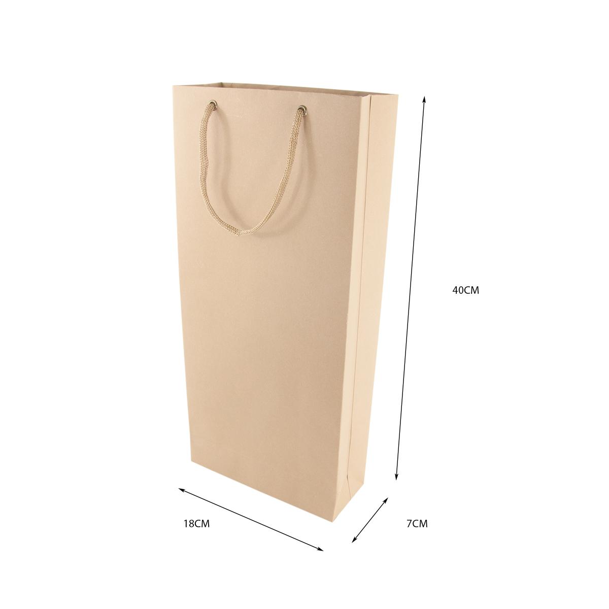 Sacola para 2 Garrafas Vinho Kraft 40x18x7 - 10 Unidades