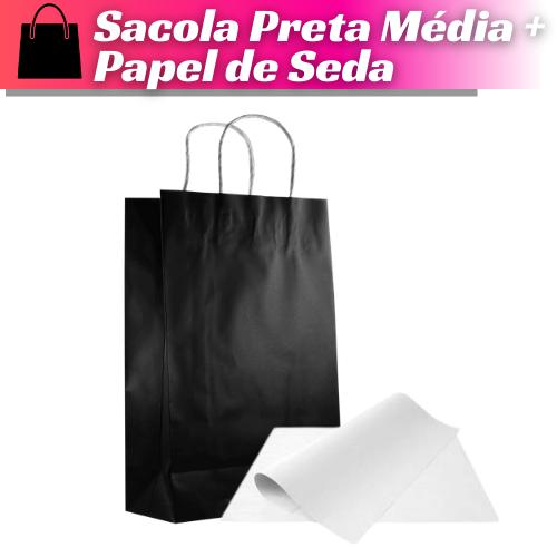 SACOLA PRETA 34X22X10 + PAPEL DE SEDA - 100 UNIDADES