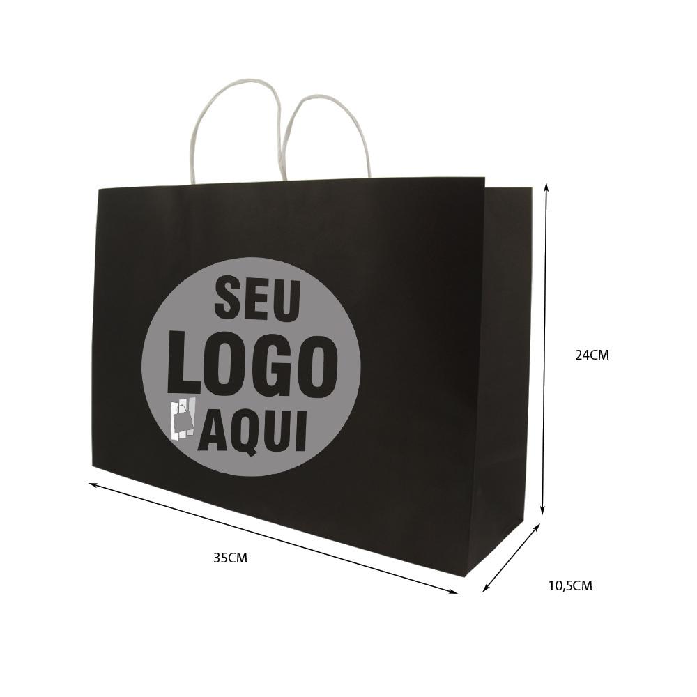Sacola Preta Personalizada 24x35x10,5 - 100 unidades