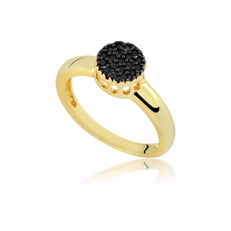 Anel chuveirinho com pedras pretas banhado à ouro 18k feminino