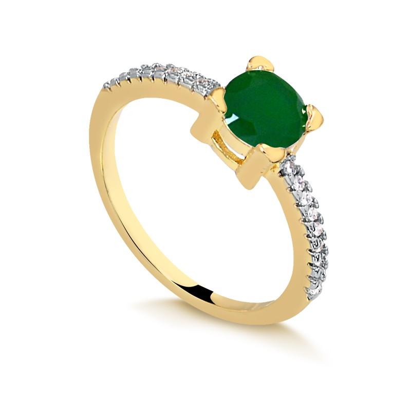 Anel com pedra verde banhado à ouro 18k feminino
