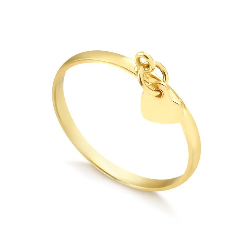 Anel com pingente de coração liso ouro 416 feminino