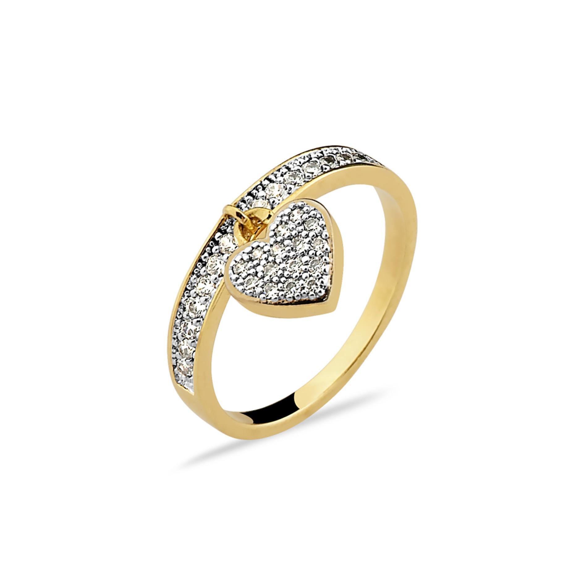 Anel Coração Pendurado Cravejado Banhado à Ouro 18k Feminino