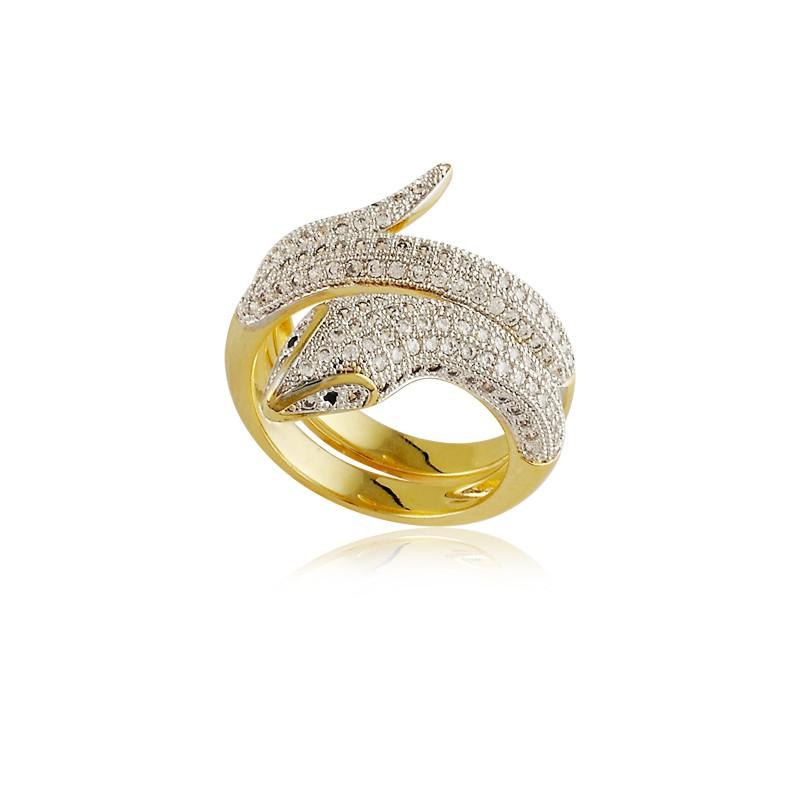 Anel de cobra cravejado banhado à ouro 18k feminino