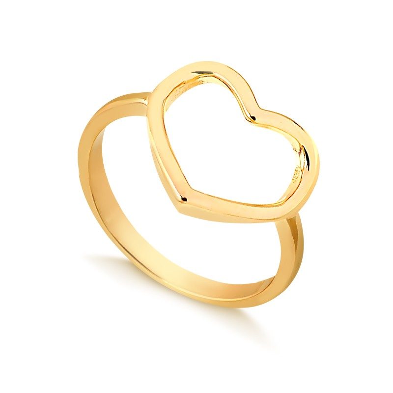Anel de Coração Vazado Banhado à Ouro 18k