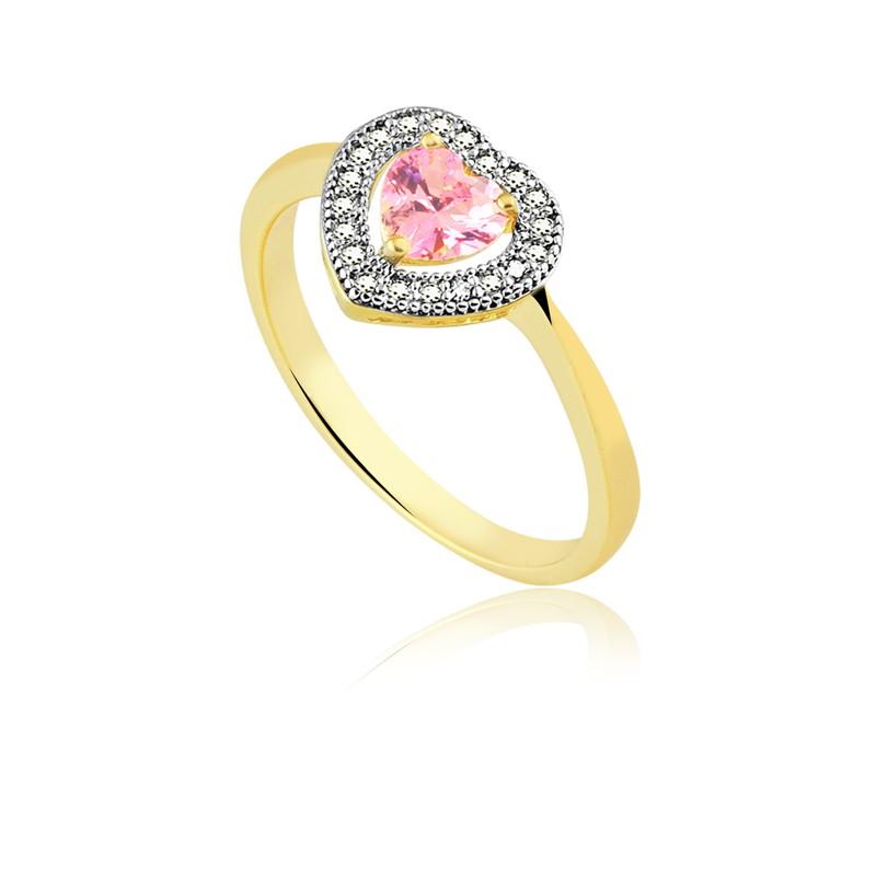 Anel de coração com pedra rosa banhado à ouro 18k feminino