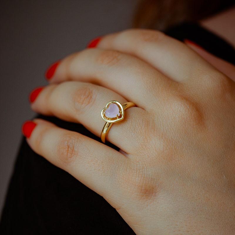 Anel de coração com pedra rosa banhado a ouro 18k feminino