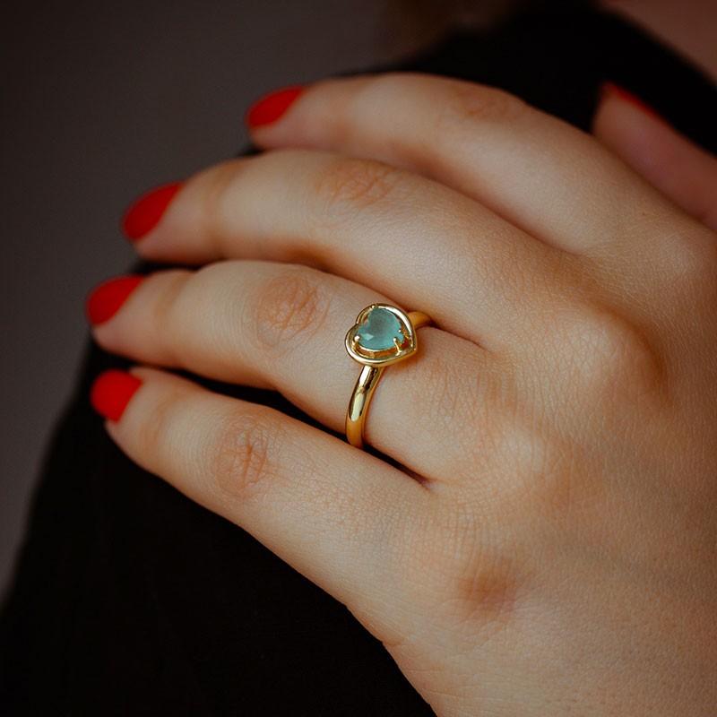 Anel de coração com pedra verde banhado a ouro 18k feminino