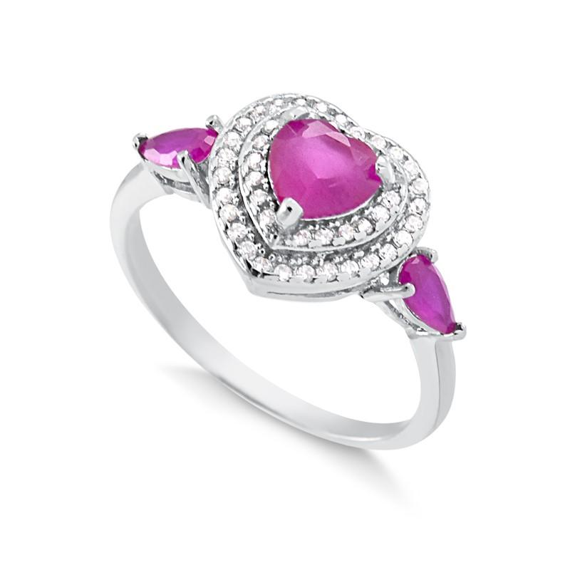 Anel de Coração com Pedra Vermelha Cristal Rubi Prata 925