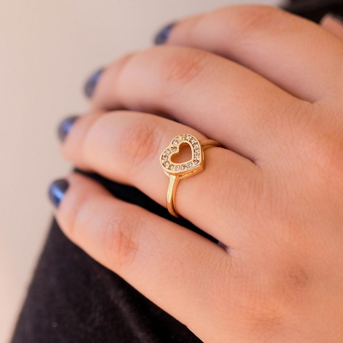 Anel de coração cravejado banhado à ouro 18k feminino