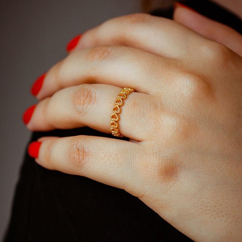 Anel de Coração Fino Dourado Banhado à Ouro 18k