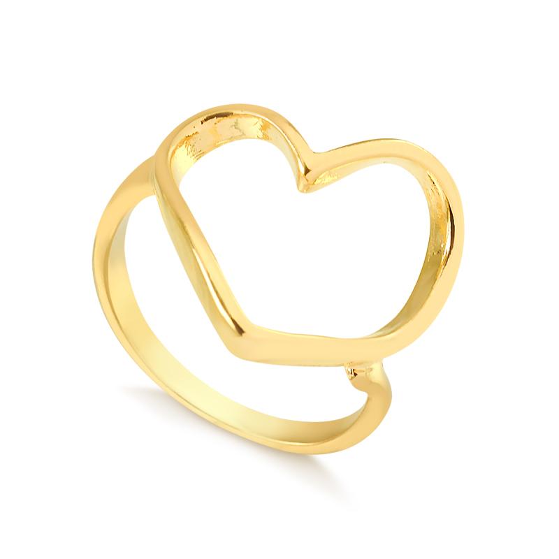 Anel de coração vazado irregular banhado a ouro 18k feminino