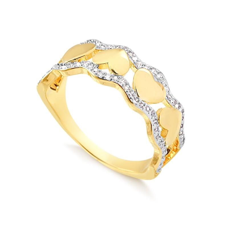 Anel de corações banhado a ouro 18k feminino