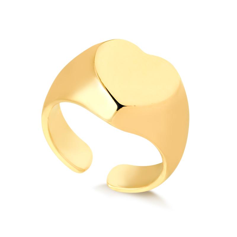Anel de dedinho de coração banhado a ouro 18k feminino