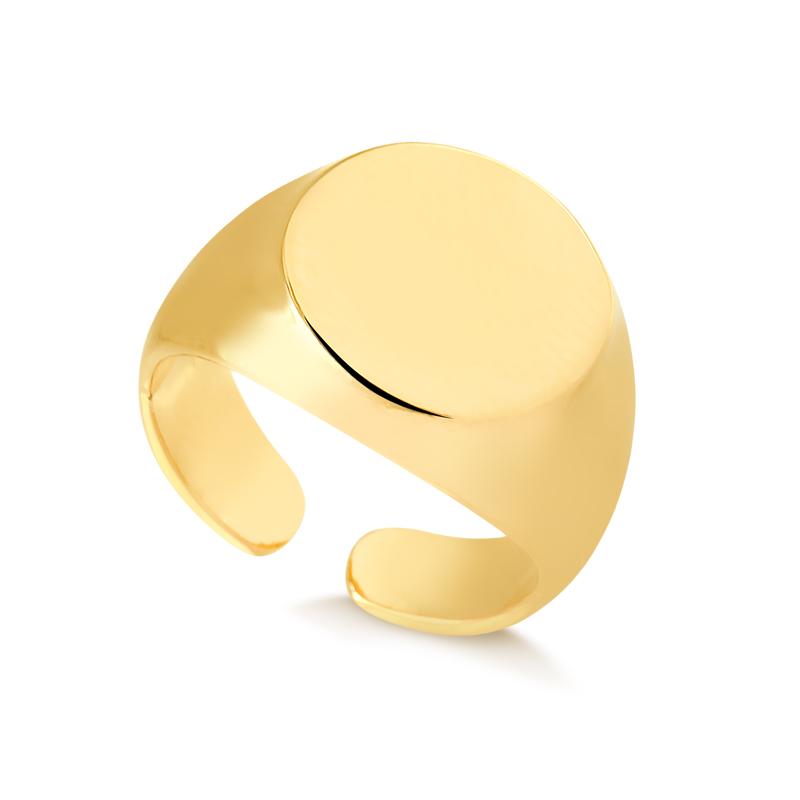 Anel de dedinho redondo regulável banhado a ouro 18k feminino