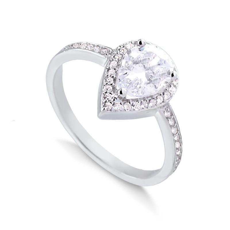 Anel de gota cravejado prata 925 feminino