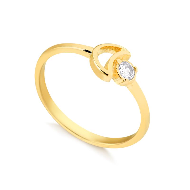 Anel de lua e ponto de luz banhado a ouro 18k feminino
