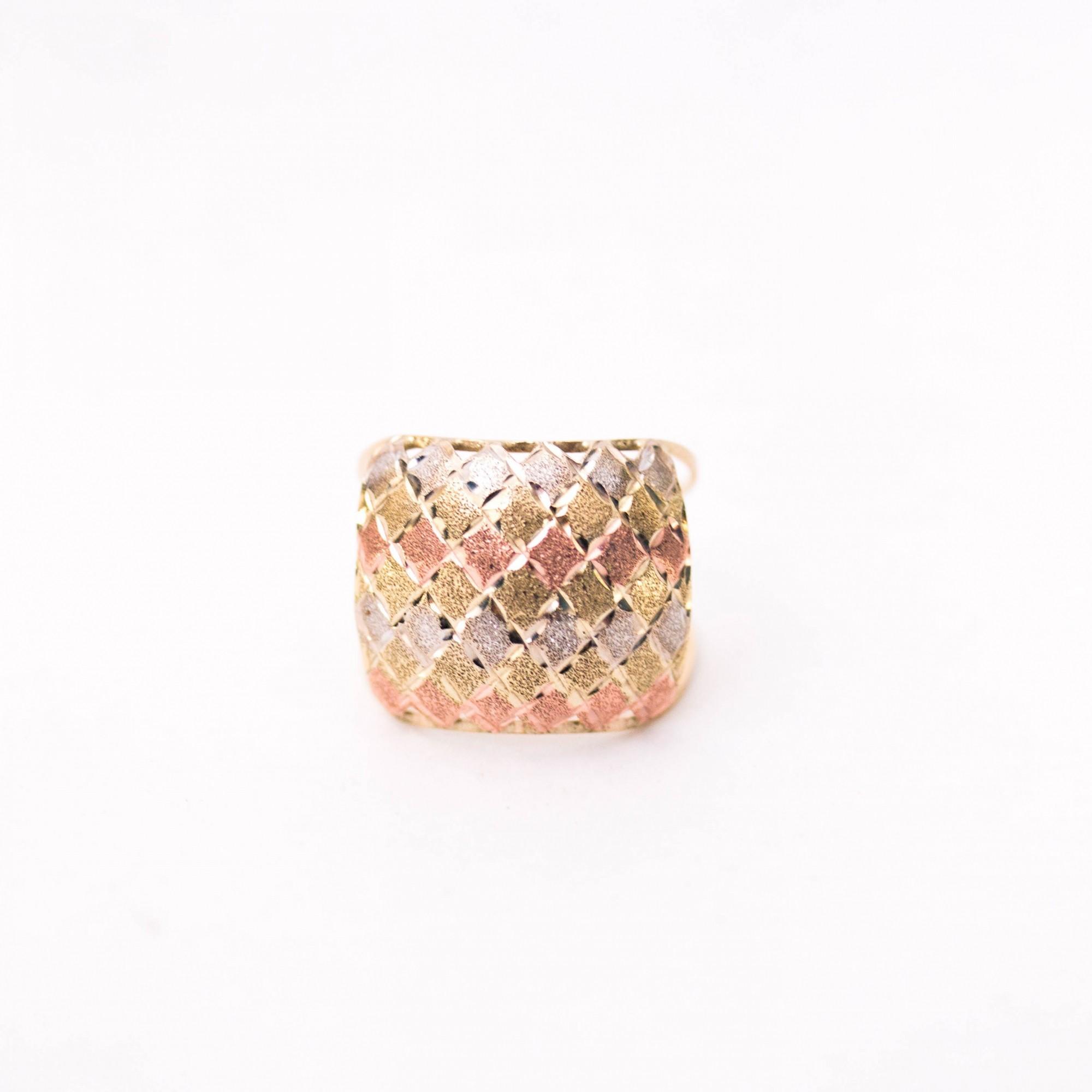 Anel de Ouro 16k Três Cores Diamantado Feminino