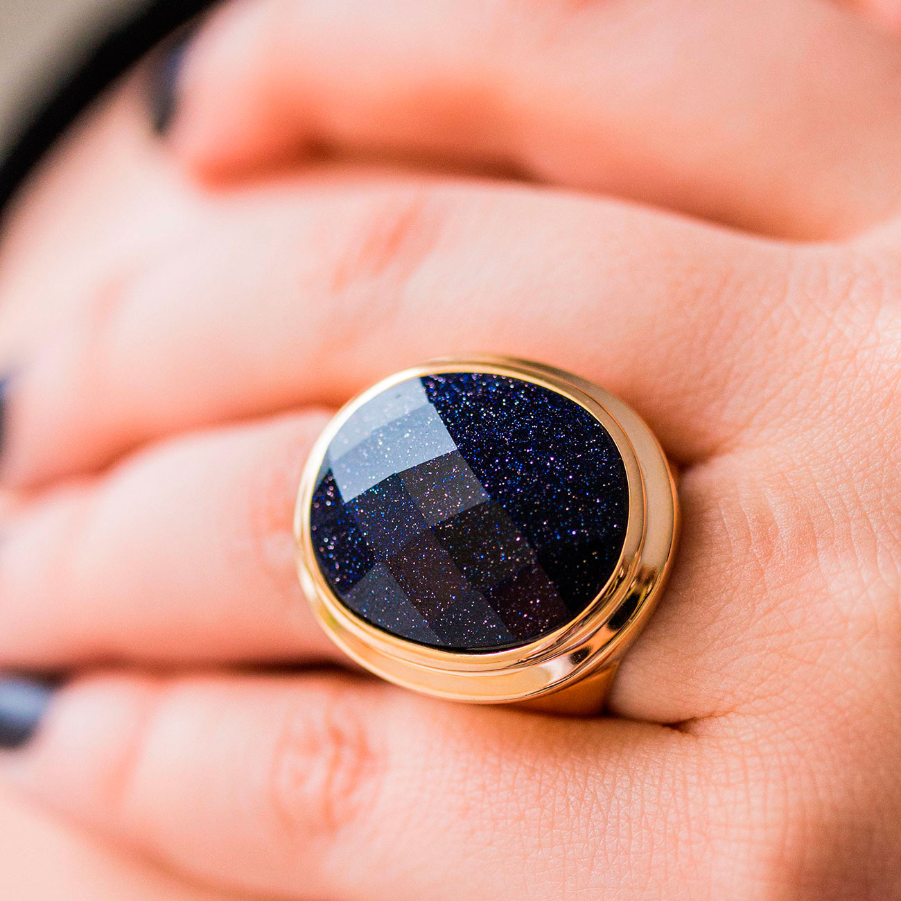 Anel de Pedra Estrela Banhado a Ouro 18k Feminino