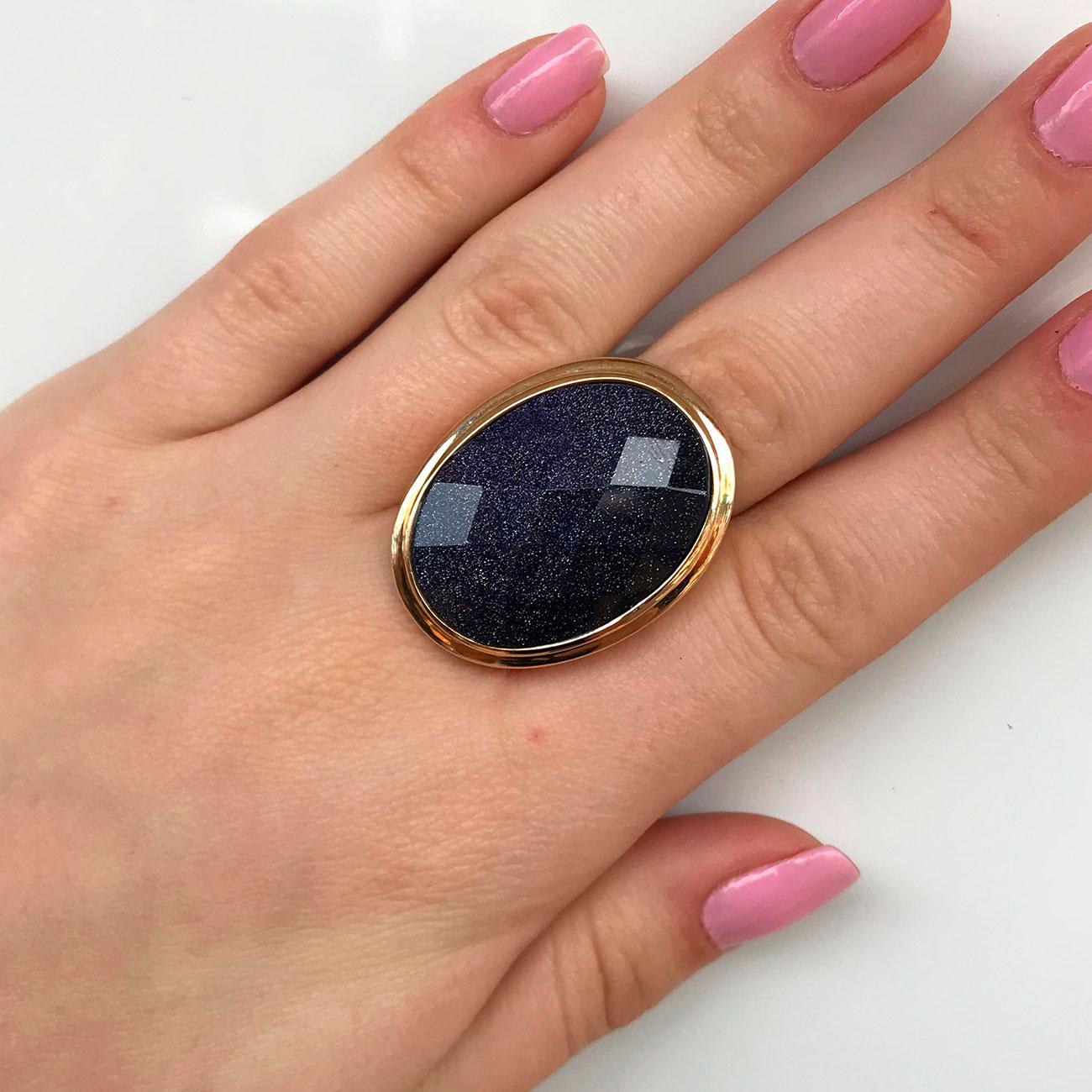 Anel de Pedra Estrela Natural Banhado à Ouro 18k Feminino