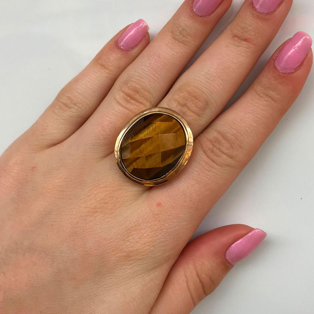 Anel de Pedra Olho de Tigre Natural Banhado à Ouro 18k