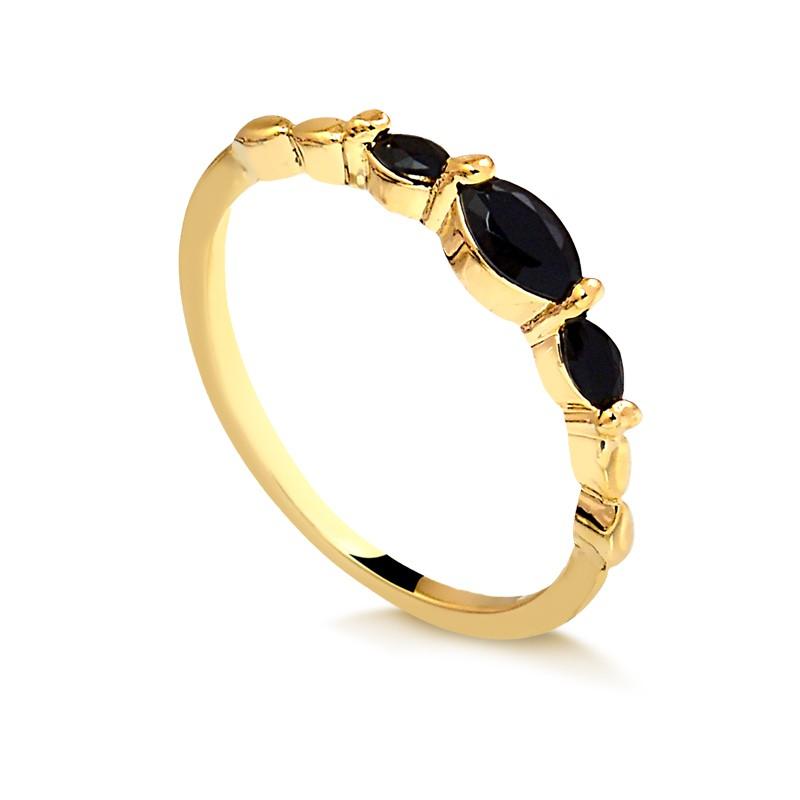 Anel de pedra preta delicado banhado à ouro 18k feminino