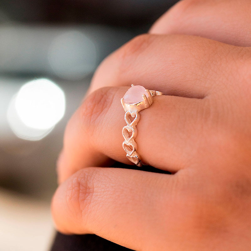 Anel de pedra rosa de coração prata 925 feminino