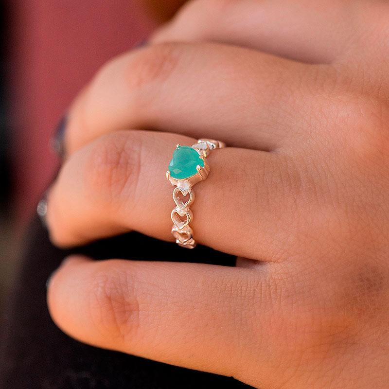 Anel de pedra verde de coração prata 925 feminino