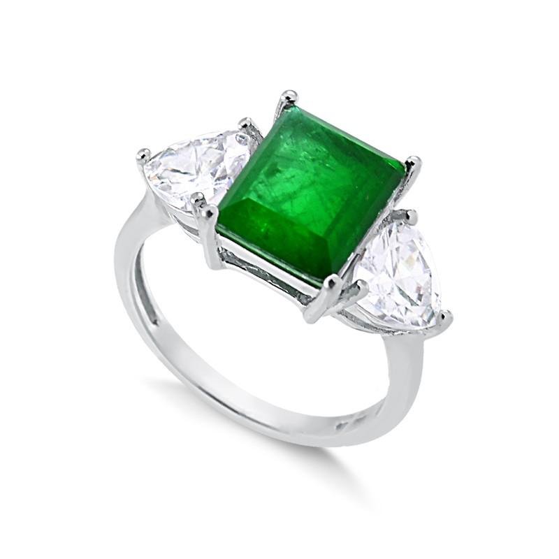 Anel de pedra verde esmeralda fusion prata 925