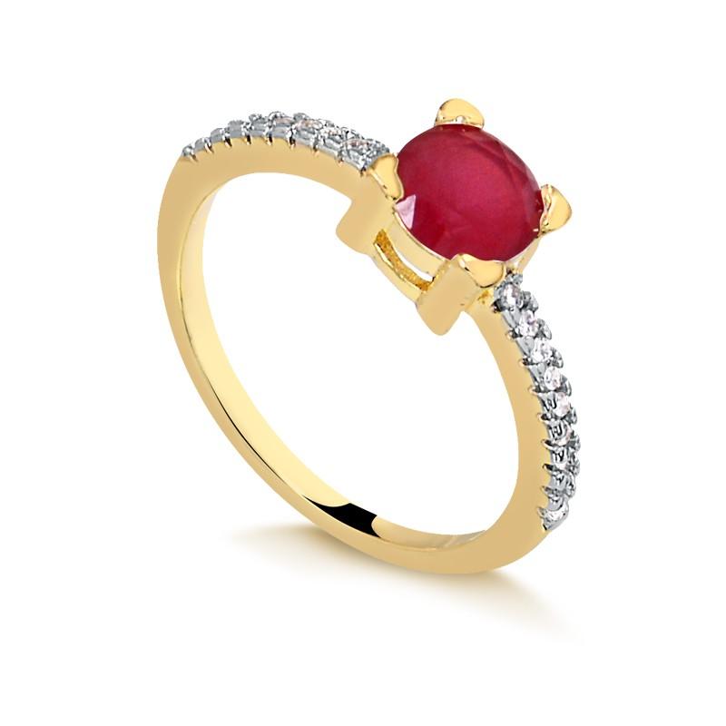 Anel de pedra vermelha cravejado banhado a ouro 18k feminino