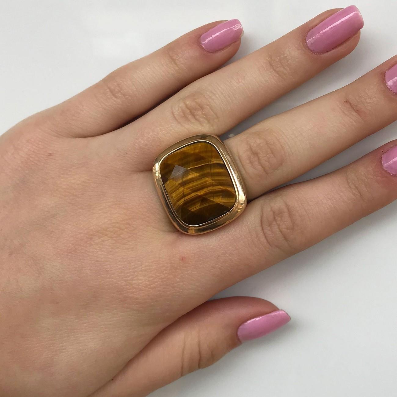Anel Feminino de Pedra Olho de Tigre Banhado à Ouro 18k