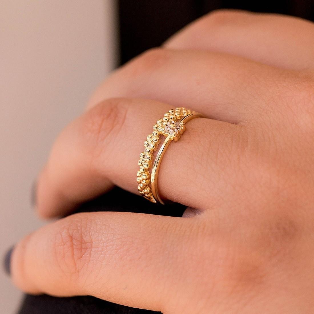 Anel Fino Dourado com Zircônia Banhado a Ouro 18k Feminino