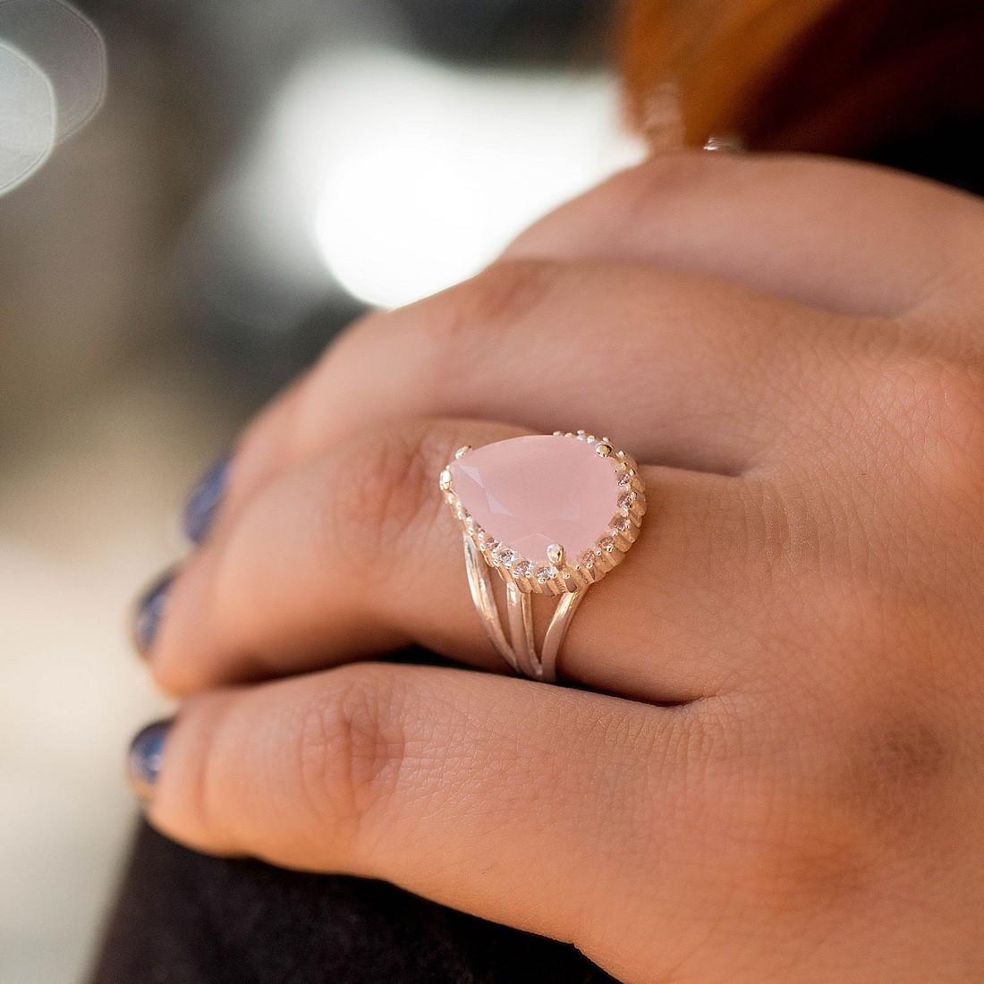 Anel Gota Pedra Rosa Prata 925 Feminino