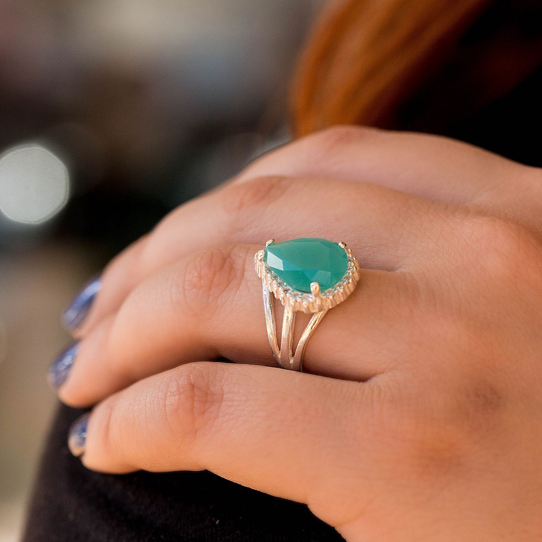 Anel Gota Pedra Verde Prata 925 Feminino