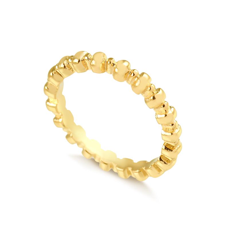 Anel minimalista com bolinhas banhado a ouro 18k feminino