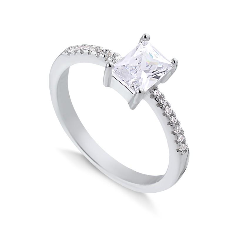 Anel solitário retangular prata 925 feminino