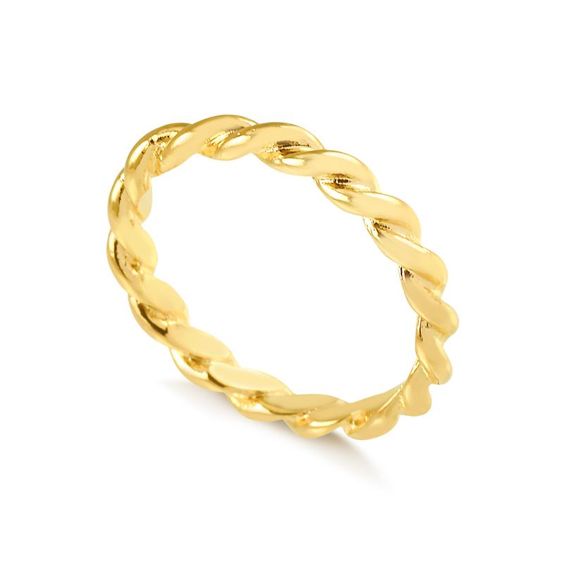 Anel torcido liso banhado a ouro 18k