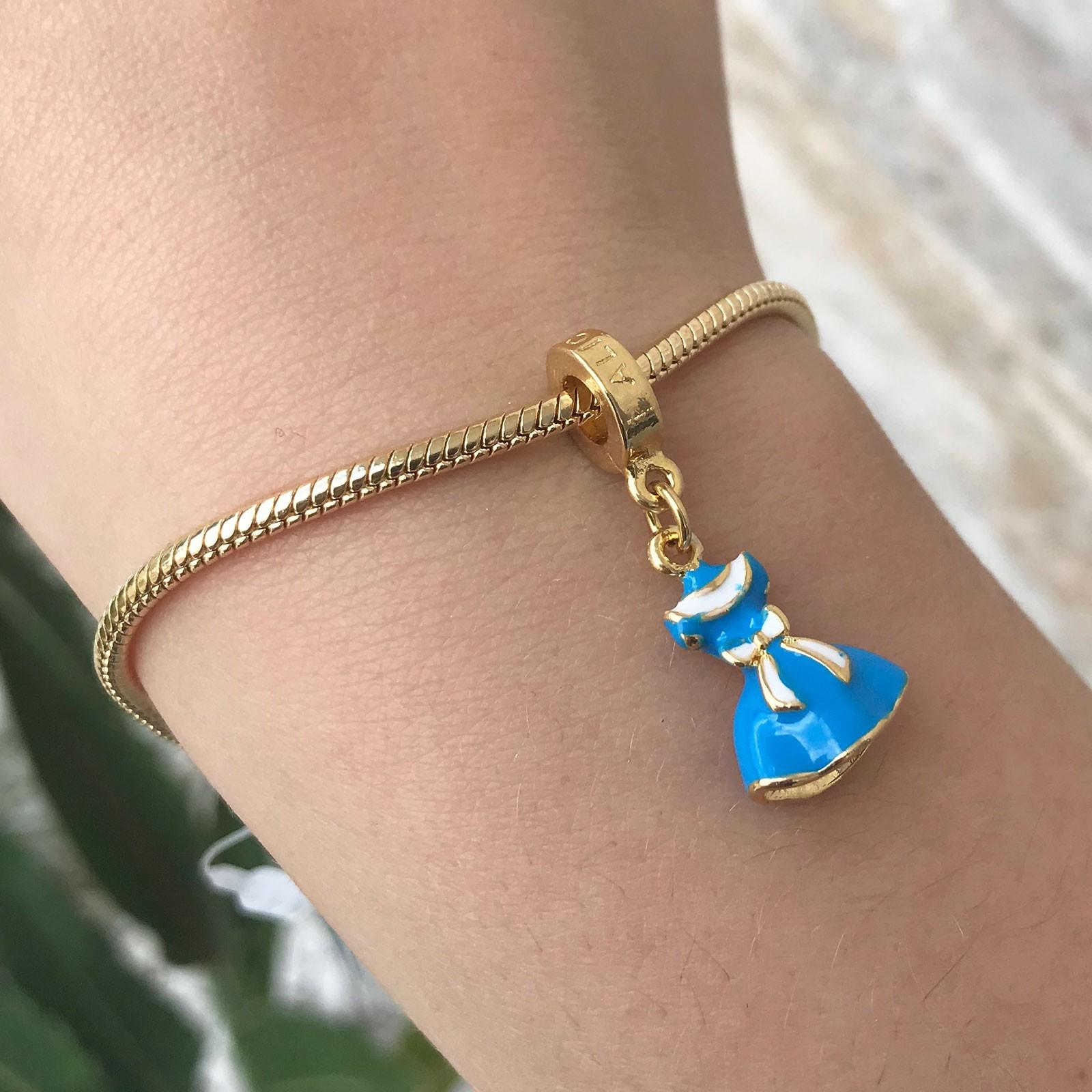 Berloque Alice no País das Maravilhas Banhado a Ouro 18k