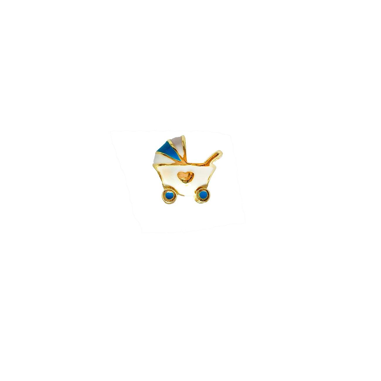 Berloque carrinho de bebê azul banhado à ouro 18k