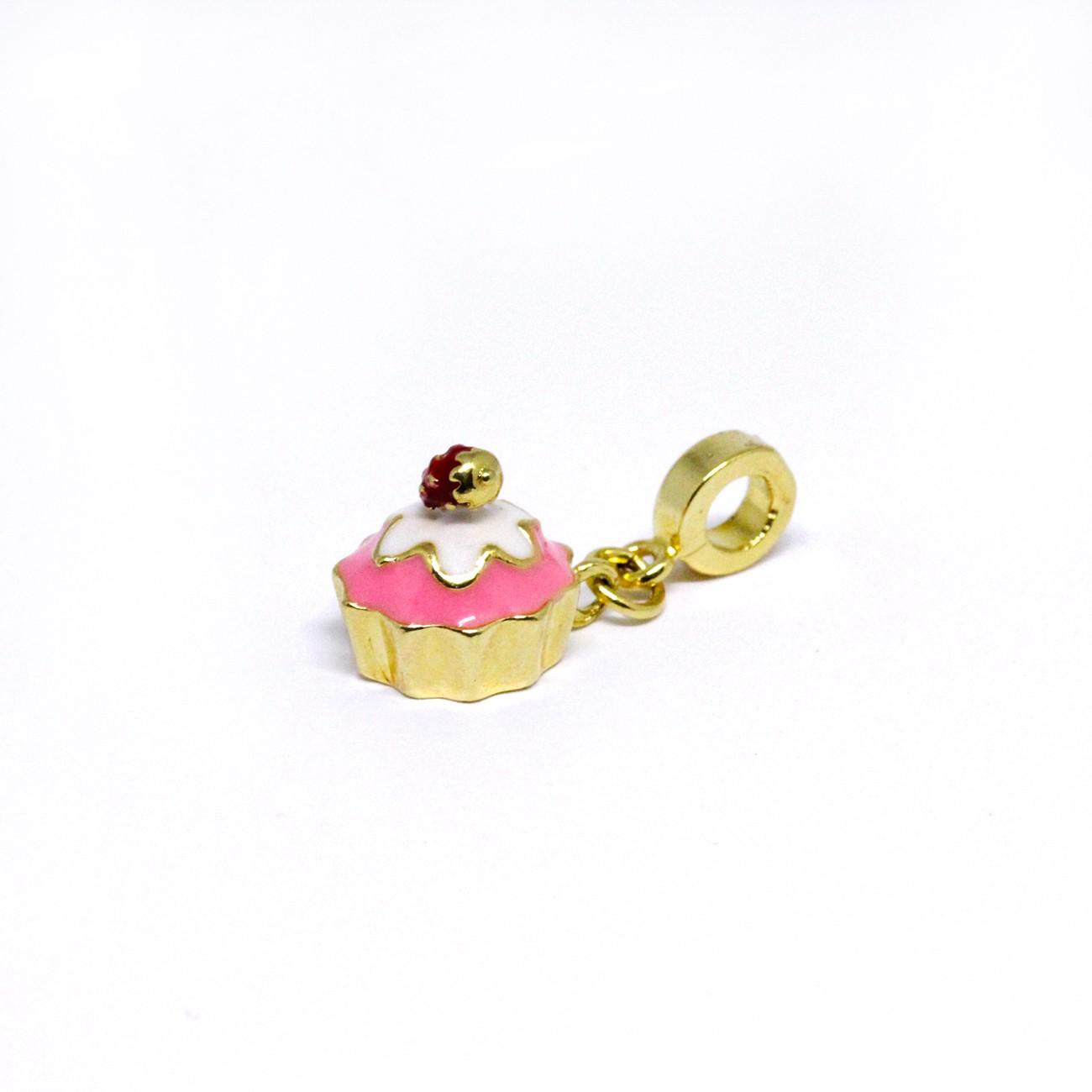 Berloque de Cupcake Banhado a Ouro 18k
