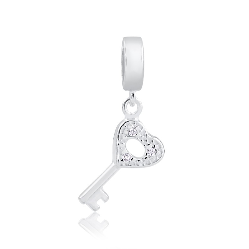 Berloque de chave com zirconias Prata 925